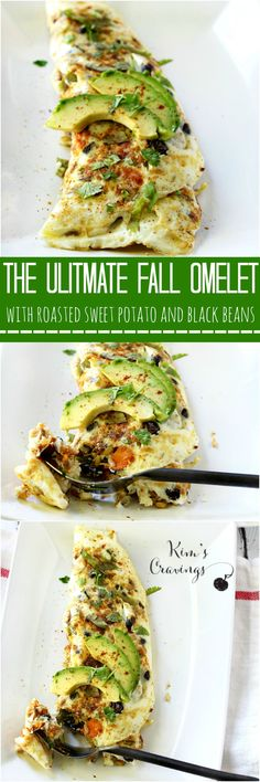 This Sweet Potato Black Bean Egg White Omelet is the ultimate clean-eating Fall breakfast meal! | healthy recipe ideas @xhealthyrecipex |