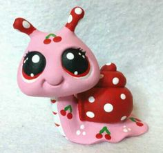 $15.00 Cherry Treat Snail * OOAK Hand Painted Custom Littlest Pet Shop