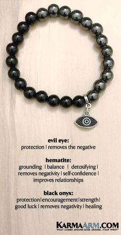 "BoHo Yoga Bracelets | Meditation Jewelry | Beaded Bracelets   The Evil Eye Symbol is meant to ""reflect"" the power of the evil look reflects the evil intent back to the onlooker. #EvilEye #Black #Onyx #Hematite #CharmBracelets     #WomensJewelry #Bracelets #Gifts #Meditation #Yoga #Reiki #Wisdom #MensFashion MensBracelets #BlackOnyx"