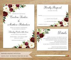 Burgundy Wedding Invitation. Printable Wedding Invitation. #weddinginvitation