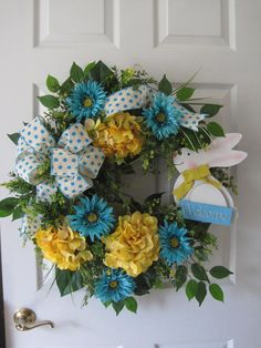Easter Wreath Easter Bunny Welcome Wreath Turquoise by FunFlorals