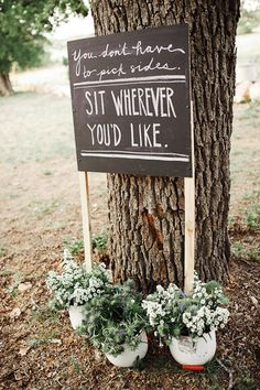 This is great: You don't have to pick sides. Sit wherever you'd like.