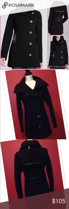 Mackage Effie Pea Coat with Leather Trim Chic Mackage asymmetric double breasted pea coat with leather trim on the pockets and back panels.  Soft cashmere wool blend will keep you chic and warm.  Very good condition. Mackage Jackets & Coats Pea Coats