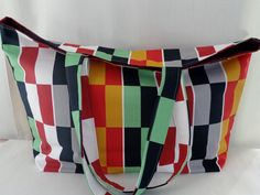 IKEA Multi-colored Blocks, Beach BAG, Extra Large Tote, Market BAG, Diaper Bag, Work Purse, Knitting Bag by BAGSbyMartha on Etsy