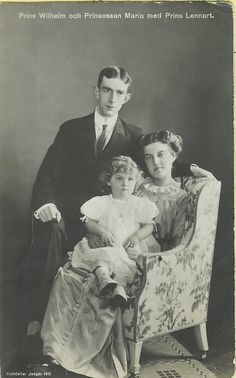 Prince Wilhelm of Sweden with his wife, Maria Pavlovna, and son, Lennart.