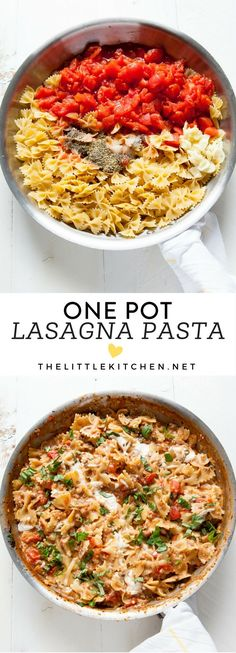 Make dinner easy with this One Pot Lasagna Pasta recipe. Pastas Recipes, Dinner Recipes, Dinner Ideas, Recipies, Pasta Dishes, Food Dishes, Main Dishes, One Pot Dinners, One Pot Pasta