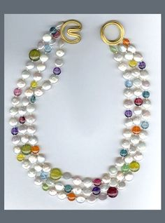 N-2557 Three strands of Freshwater Coin Pearls, multi color semi precious Lentil beads with Ridged Angela clasp, 18K yellow Gold @ Christopher Walling Jewelry
