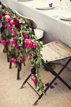 Love this idea- decorating chairs with floral rope for the reception! (Hint: don't use alstroemeria though, it can cause blood problems though skin contact in some people.)