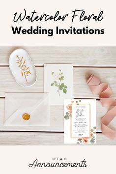 Get that dainty look for your wedding invitation with this watercolor floral invitation design. With an added touch of gold that will surely provide an elegant feel to the design, you'll have the perfect wedding invitation that you are looking for. Wedding Invitation Trends, Simple Wedding Invitations, Floral Invitation, Invitation Design, Invites, Spring Weddings, Touch Of Gold, Bride Look, Wedding Announcements