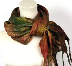 Hand Dyed Silk Scarf  Nuno Felted  Shades of Green and by ZMFelt, £46.00