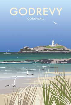 Godrevy Coastal Art Print by Dave Thompson… Posters Uk, Railway Posters, Illustrations And Posters, Poster Prints, Art Print, British Travel, British Seaside, Ria Formosa, Tourism Poster