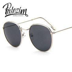 fa5d36693bc Vintage Round Sunglasses Women men female brand Metal Frames Mirror Lenses  Sun Glasses For women retro
