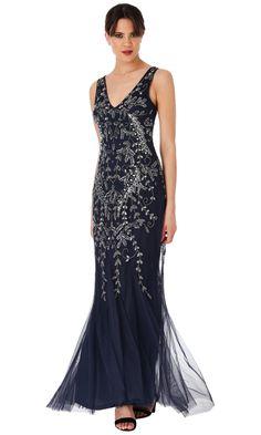 24e4f2438af4 DR1467 Navy - City Goddess Evening Dress Long evening dress with wide  bra-friendly straps