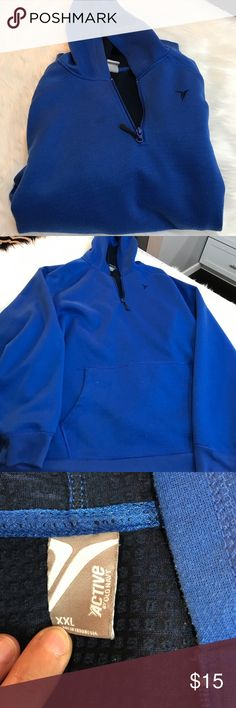 Old Navy Blue hoodie Blue hoodie with pocket on front. Looks like there may be a little water looking stain on front shown in one of the pictures. Old Navy Shirts Sweatshirts & Hoodies