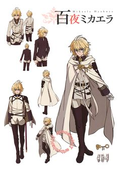 Seraph of the End (終わりのセラフ) Character designs for Mikaela Hyakuya