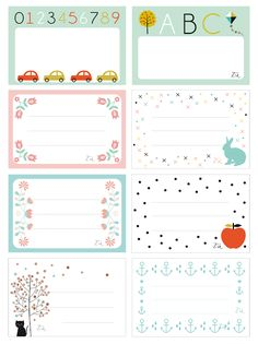 abc car and kid fun printable labels Printable Labels, Printable Paper, Free Printables, Printable Name Tags, Notebook Labels, School Labels, Free Prints, Smash Book, Journal Cards