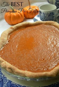The BEST Pumpkin Pie Filling ~ the pumpkin, cream and combination of spices makes this a truly delicious pie filling. Above the rest!