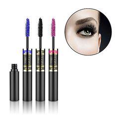 OLAXER 3 Pack Double Extension Fiber Lash Color Mascara, Black-Blue-Pink, 3 x 0.23fl.oz