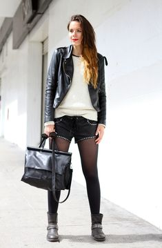 leather shorts and biker boots streetstyle outfit wish i could pull this off!!