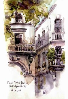 ink and wash Urban Sketchers: Castres Montpellier Shari Blaukopf Watercolor Architecture, Architecture Drawings, Watercolor Landscape, Watercolor Trees, Watercolor Artists, Classical Architecture, Watercolor Portraits, Watercolor Painting, Urban Sketchers