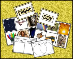 Students sort the real picture cards as either activities or animals seen during the day or at night. When sorted, they can fill in one of several recording sheets. This can be done whole group or it makes the perfect activity for your Science Center!  Click the link to learn more! $ http://www.teacherspayteachers.com/Product/Day-and-Night-Objects-in-the-Sky-Real-Pictures-for-Sorting-Science-Center-948192