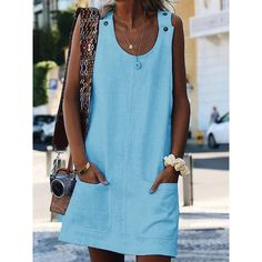 ad88ab9b6f92 Crew Neck Women Dresses Shift Cotton-Blend Dresses – jullymart