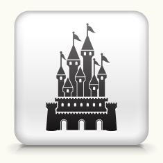 Square Button with Castle royalty free vector art vector art illustration