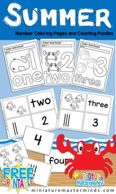 2c4476d16eb Free Printable Summer Themed Number Coloring Book And Number Puzzles 1 to 10
