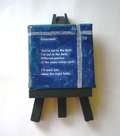 Little poem with collage on tiny canvas.