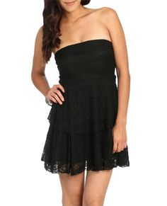 Tube Knit Lace Dress - Teen Clothing by Wet Seal