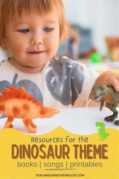 Get ready to plan with these toddler and preschool dinosaur theme resources - activities, books, songs and printables! #toddler #preschool #dinosaur #theme #printables #books #songs #activities #classroom #teaching2and3yearolds Dinosaur Songs, Preschool Dinosaur, Dinosaur Tracks, Dinosaur Activities, Hands On Activities, Toddler Preschool, Toddler Activities, Dinosaur Template, Lesson Plans For Toddlers