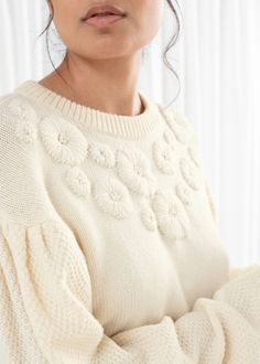 Floral Embroidered Wool Blend Sweater - White - Sweaters - & Other Stories