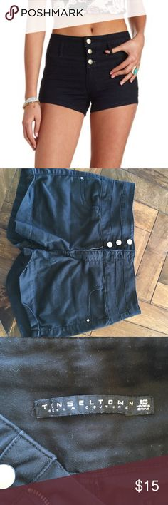 Black 3 Button High Waisted Shorts Adorable high waisted, short black shorts. Tinseltown Shorts