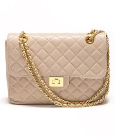 12caf9216f9a Beige Quilted Nichole Leather Shoulder Bag by Carla Ferreri