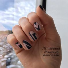 Negative space, #matte, #black #geometric manicure ~ Идеи маникюра 2017! 5