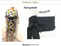 #happydiy : Tuto gratuit couture facile adeptes de cuir, simili cuir, lycra, coton ou élastique, la ceinture Obi se décline de mille et une façons. populaire auprès des femmes enceintes. c'est aussi une idée de cadeau #diyfashion