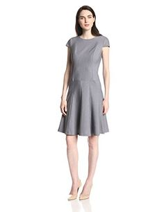 be44f7bef31 Anne Klein Women s Cap Sleeve Stripe Fit and Flare Dress Dresses For Work