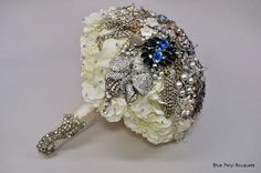 Cascading Hydrangea including brooches from the Bride's family:) by Blue Petyl  #bridal #bouquet #vintage