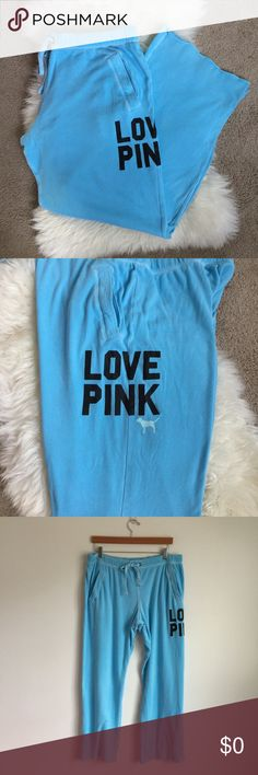 "VS PINK | Aqua Boyfriend Fit Sweats Light blue/aqua boyfriend fit sweatpants from Victoria's Secret PINK. 60% cotton, 40% polyester. This material isn't as heavy as their regular boyfriend fit sweats, so they're perfect for warmer weather! Size L. Approx. 18"" waist, 12"" rise, 33"" inseam, 12"" leg opening. Worn a few times. Very light discoloration on the left knee (see photos) but not that noticeable. Otherwise in perfect condition. No trades or holds. Price is firm. PINK Victoria's Secret…"