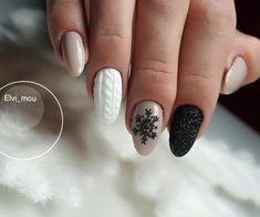 Winter manicure - The most beautiful nail designs Xmas Nails, Holiday Nails, Christmas Nails, Glitter Nails, Simple Christmas, Trendy Nails, Cute Nails, Sweater Nails, Christmas Nail Designs