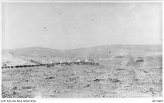 View of a camp at Talaat ed Dumm.  Tents and horse lines are in the background.  Note the barren countryside.  This is the sixth image in a six part panorama.  See A01948P for the combined image. Ottoman Empire: Palestine, Talaat ed Dumm, c 1918