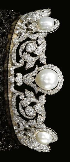 A rare and Impressive natural pearl and diamond tiara, Chaumet, 1920. Designed…