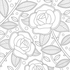 Coloriage de roses!!Relaxant! Pattern Coloring Pages, Flower Coloring Pages, Mandala Coloring Pages, Free Printable Coloring Pages, Colouring Pages, Adult Coloring Pages, Coloring Books, Old School Rose, Hand Embroidery Flowers