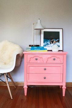 End Table Makeover Pink Dresser, Dresser As Nightstand, End Table Makeover, Trash To Treasure, Colorful Furniture, Home Staging, End Tables, House, Blog