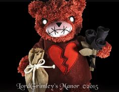 Edwin Morose Price: $24.95 E-Bay: http://www.ebay.com/itm/New-2015-Edwin-Morose-Teddy-Scares-Undead-Teddy-Bear-Limited-Edition-Horror-/261769213116?pt=LH_DefaultDomain_0&hash=item3cf2a934bc  When this hopeless romantic lost his soul mate and owner, Abigail, he slipped into a deep sadness from which he has never recovered. Edwin attempts to pour all of his pain into his poetry, but it is a hopeless endeavor. Only true love can repair his broken heart.