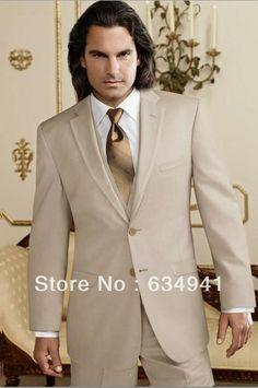 Livraison gratuite/custom made tan marié. tuxedo costume homme meilleur champagne. occidentales. mariage, groomsmen robe des hommes p...
