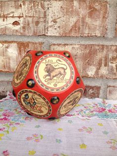 UNIQUE Vintage Astrological Dodecagon Bright Red by RetroRetake, $13.95