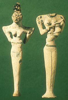 Prehistoric figurines    Figurines, mostly female, appear throughout the Near East from around 7,500 BC, and their distinctive styles enable archaeologists to identify various cultures or groups of people.    The two illustrated here come from Ur in southern Iraq, date to around 4,500 BC, and are typical of the prehistoric Ubaid culture. One figurine rests her hands on her abdomen, while the other (head missing) holds a baby who has an elongated head.