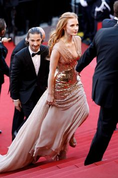 "Jessica Chastain (and Shia LaBeouf) at the ""Lawless"" premiere at the 65th Annual Cannes Film Festival."