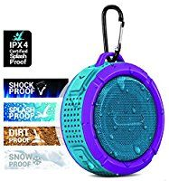 Aduro® AquaSound WSP60 Shock / Splash / Dirt / Snow proof, Wireless Speaker - Smartphones & Bluetooth Devices w/ Detachable Suction Cup & Keychain Hook - Shower / Pool / Outdoor Use (Black Purple)